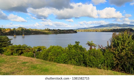 "Panoramic View of Lake Karapiro, New Zealand. The Lake Was Created in 1947 By a Dam on the Waikato River. It is an Important Rowing Venue. To the Right is Maungatautari, or ""Sanctuary Mountain"""