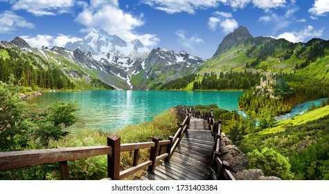 Panoramic view of the lake in the mountains.