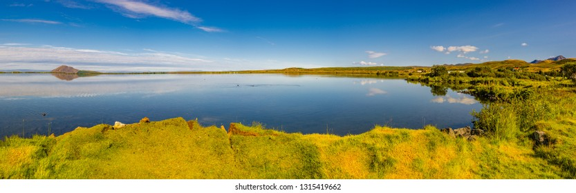Panoramic view of lake Myvatn near Reykjahlid on Iceland at sunset