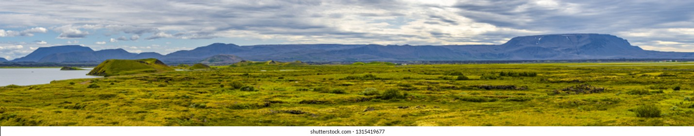 Panoramic view of lake Myvatn and pseudo craters aka volcanic near Skutustadir on Iceland