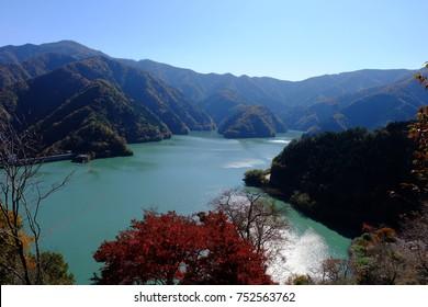 Panoramic view of Lake Okutama in autumn, Okutama, Tokyo, Japan