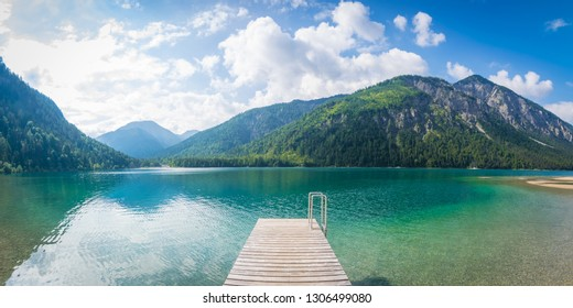 Panoramic view of lake Plansee in the Alps of Austria