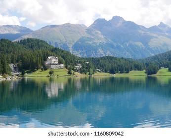 Panoramic view of the lake of Saintz Moritz