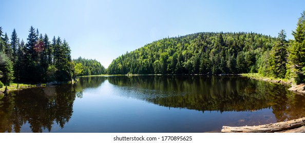"Panoramic view of the lake ""Spruce"", at the ""Mont Sutton"", Quebec"