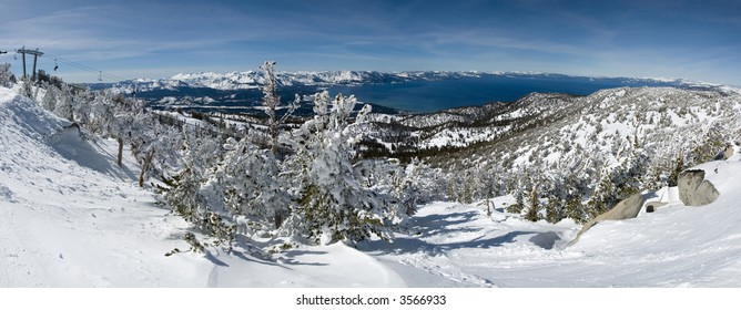 Panoramic View of Lake Tahoe from the mountain in winter