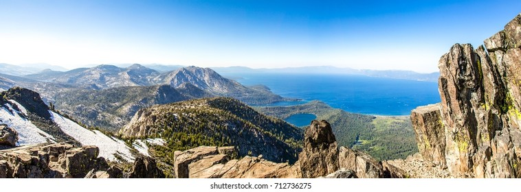 Panoramic View of Lake Tahoe from the top of Mount Tallac South Lake Tahoe, California.