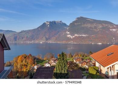 Panoramic view Lake Thun in Switzerland apls near town of Interlaken, Canton of Bern