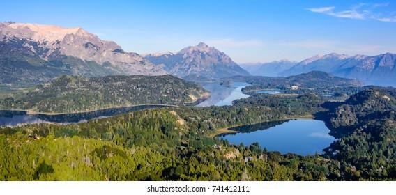 Panoramic view of lakes Nahuel Huapi and slopes of mountain Cerro Campanario near Bariloche. Argentina, South America