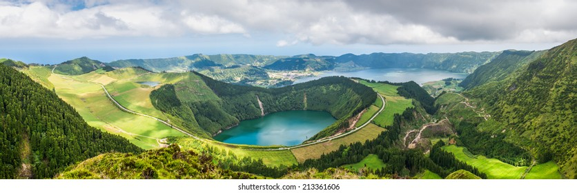 Panoramic view of the lakes of Santiago and Sete Cidades, Azores, Portugal