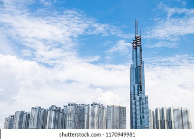 Panoramic view of Landmark 81 from the river - a new iconic skycrapper of Ho Chi Minh City, Vietnam