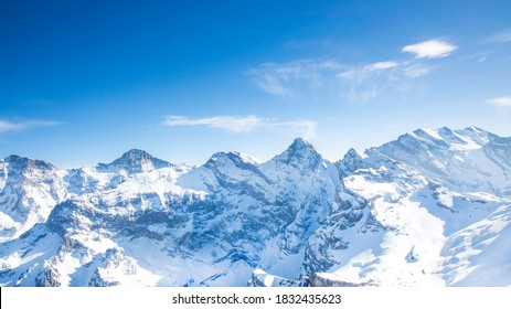 Panoramic view with Landscape background with  Alps mountain in Schilhorn and clear with blue sky , Switzerland,European Alps in sunny day