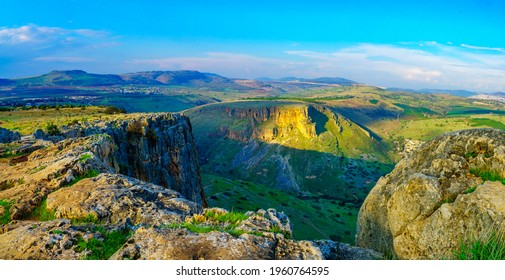 Panoramic view of landscape, Horns of Hattin mountain and Mount Nitay from Mount Arbel National Park. Northern Israel
