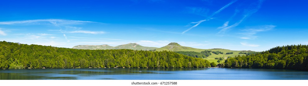 Panoramic view of the landscape of Lake Pavin in Auvergne, France
