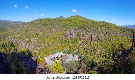 Panoramic view of the landscape of Mount Shibao with its cave temples, Yunnan, China