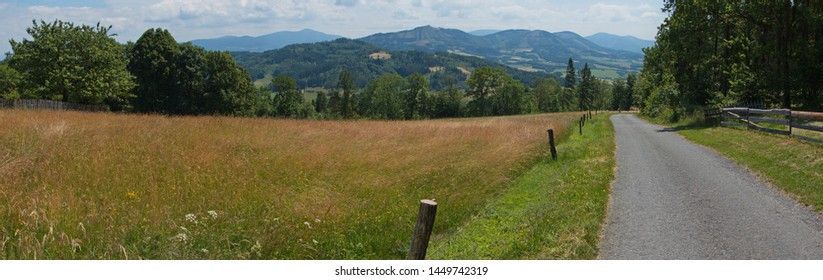 Panoramic view of the landscape near Hukvaldy in Beskydy in Czech republic