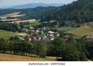 Panoramic view of the landscape round Myslik near Hukvaldy in Beskydy in Czech republic