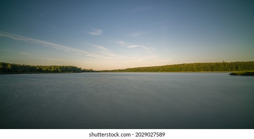 Panoramic view of the large Jezioro Ostrowieckie in Pojezierze Zninskie in summer, Poland