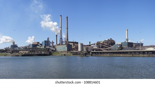 panoramic view of large steel factory in IJmuiden, Netherlands