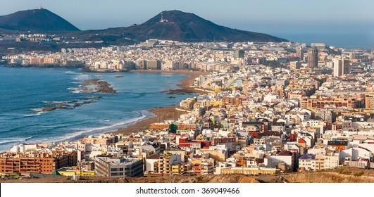 Panoramic view of Las Palmas de Gran Canaria and Las Canteras beach, Canary Islands, Spain.