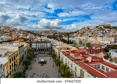 Panoramic view of Las Palmas de Gran Canaria on a cloudy day, view from the Cathedral of Santa Ana