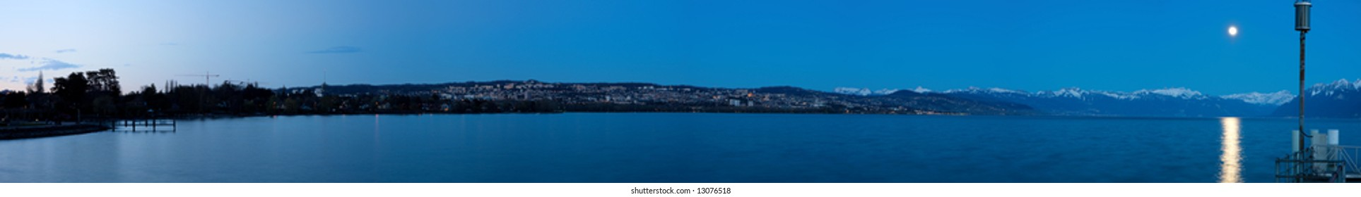 Panoramic view of Lausanne at night (Switzerland)
