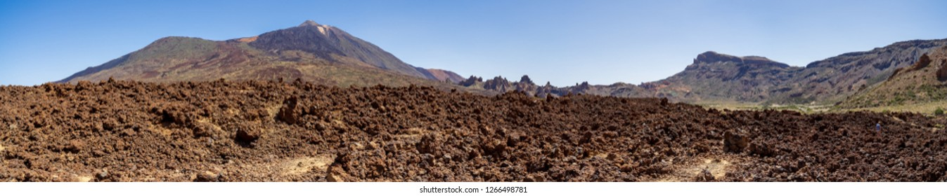 Panoramic view of the lava fields of Las Canadas caldera and Teide volcano in the background. Tenerife. Canary Islands. Spain.