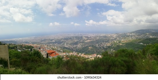 Panoramic view of Lebanese mountain and Villages in Aley - Beirut City and Sea as seen from mountain top