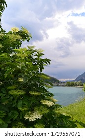 Panoramic view to Lecco city lakefront in a sunny spring day.