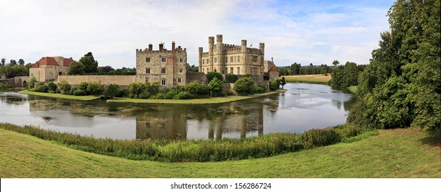 Panoramic view of Leeds Castle and moat, England, United Kingdom