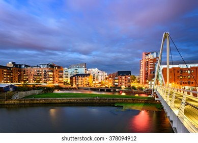 Panoramic view of Leeds city from Clarence Dock.