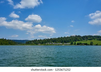 Panoramic View Of Leisure Village At The Right bank of Lake Saint Point Doubs France