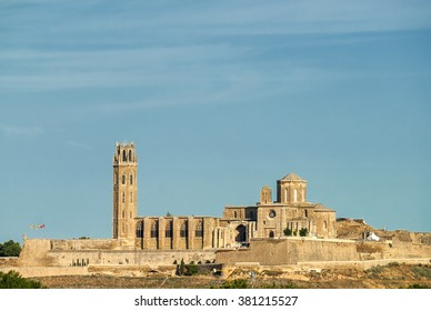 Panoramic view of Lerida (Lleida, Catalunya, Spain) at summer. The historic city