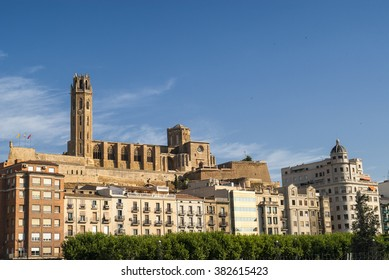 Panoramic view of Lerida (Lleida, Catalunya, Spain) at summer. The old and the modern city
