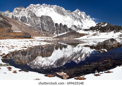 Panoramic view of Lhotse and Nuptse south rock face mirroring in small lake on the way to Everest base camp - Sagarmatha national park - Nepal