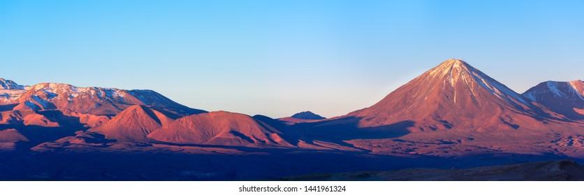 Panoramic view of licancabur volcano at sunset, San Pedro de Atacama, Atacama desert, Chile, South America