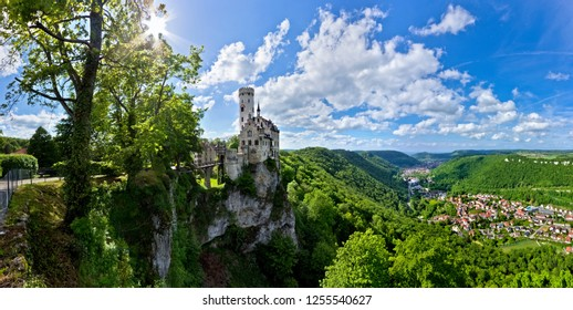 Panoramic view of the Lichtenstein Castle and the Echaz valley below. Germany.