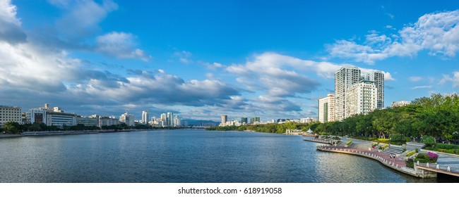 Panoramic view of Lichun river in sunny day. Sanya city on Hainan Island of China