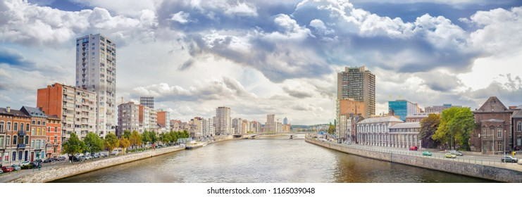 Panoramic view of Liege, a city on the banks of the Meuse river in Belgium, Europe