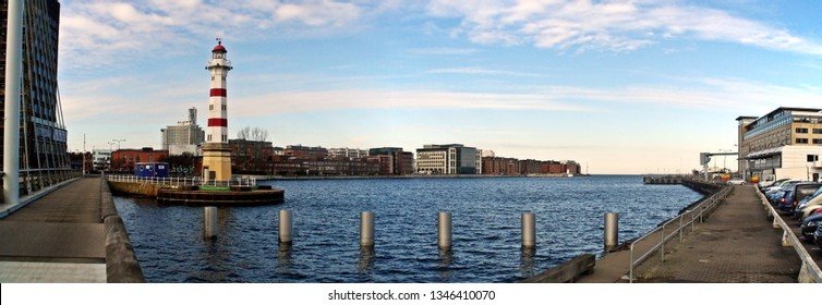Panoramic view of the Lighthouse of Malmö. Located on a notorious rocky shoal just off the entrance to Malmö harbor.