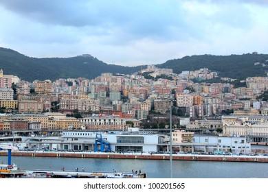 Panoramic view Liguria sea coast,Genoa port