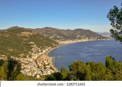 Panoramic view of the Ligurian coast with Laigueglia and Alassio from the cape of Capo Mele, Andora, Liguria, Italy