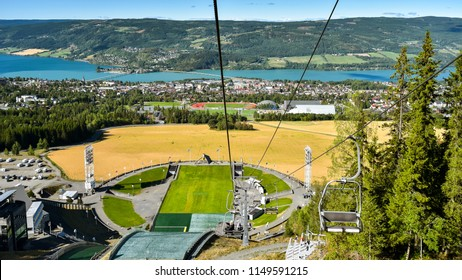 Panoramic view of Lillehammer, Norway as seen from ski lift.