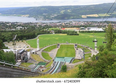 Panoramic view of Lillehammer from top of  ski jumping hill.  Lillehammer hosted the 1994 Winter Olympics and 2016 Winter Youth Olympics