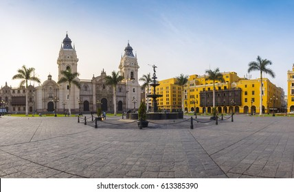 Panoramic view of Lima main square and cathedral church (LIMA, PERU)