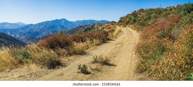 Panoramic view from the line of a dirt road in the mountains of southern California's Los Padres National Forest.
