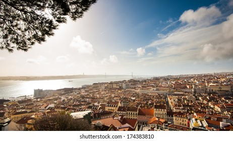 """Panoramic view of Lisbon city and Tagus river from the """"Castle Sao Jorge""""."""