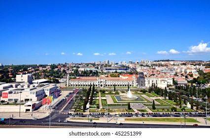 Panoramic view of Lisbon from the monument to the discoveries, Lisbon, Portugal