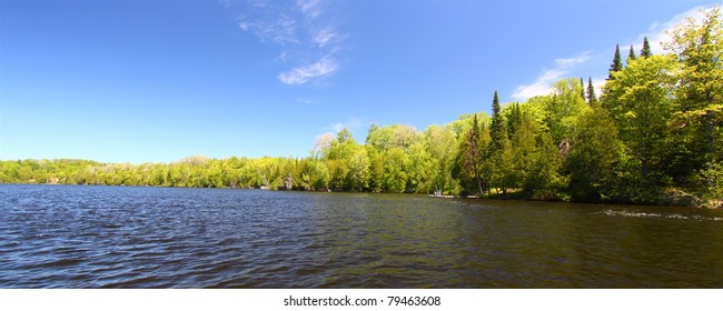 Panoramic view of Little Horsehead Lake in northern Wisconsin