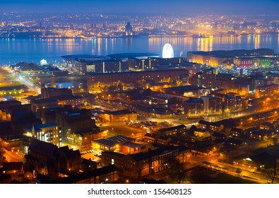 Panoramic view of Liverpool City at night, United Kingdom