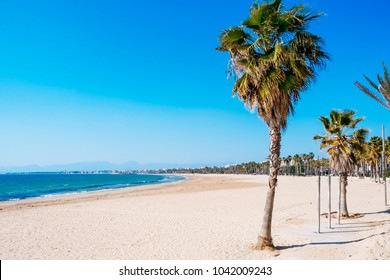 a panoramic view of the Llevant Beach in Salou, Spain, on a winter day